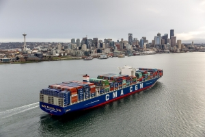 CMA-CGM Benjamin Franklin arrives in Elliott Bay and docks at Notthwest Seaport Alliance's T-18 at the Port of Seattle, 29 February 2016.
